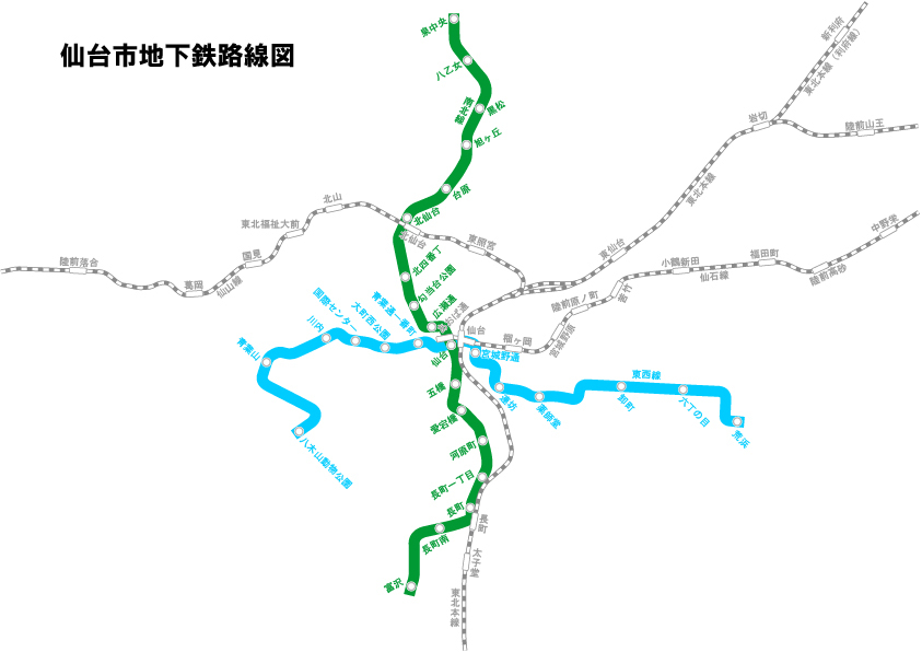 仙台の交通機関(JR、地下鉄)